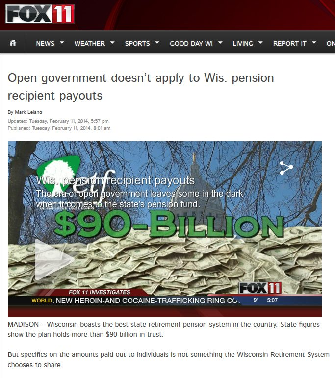 WLUK-TV FOX 11 | Open government doesn't apply to Wis. pension recipient payouts