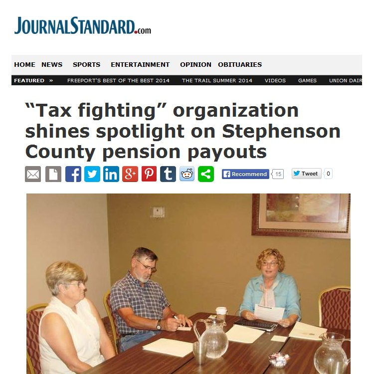 "Journal-Standard | ""Tax fighting"" organization shines spotlight on Stephenson County pension payouts"