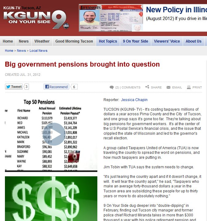 KGUN-TV 9 | Big government pensions brought into question [VIDEO]