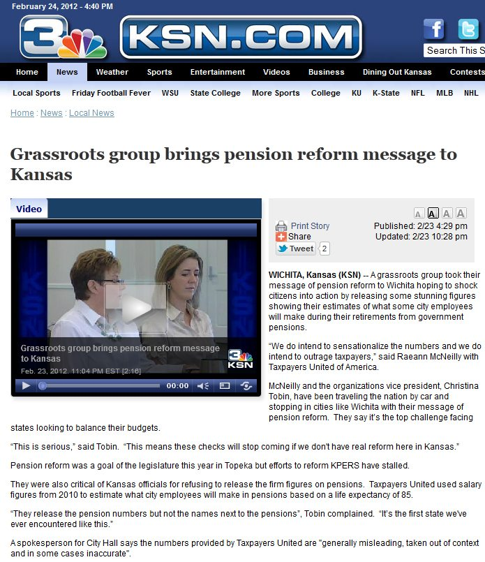 KSN News Wichita | Grassroots group brings pension reform message to Kansas