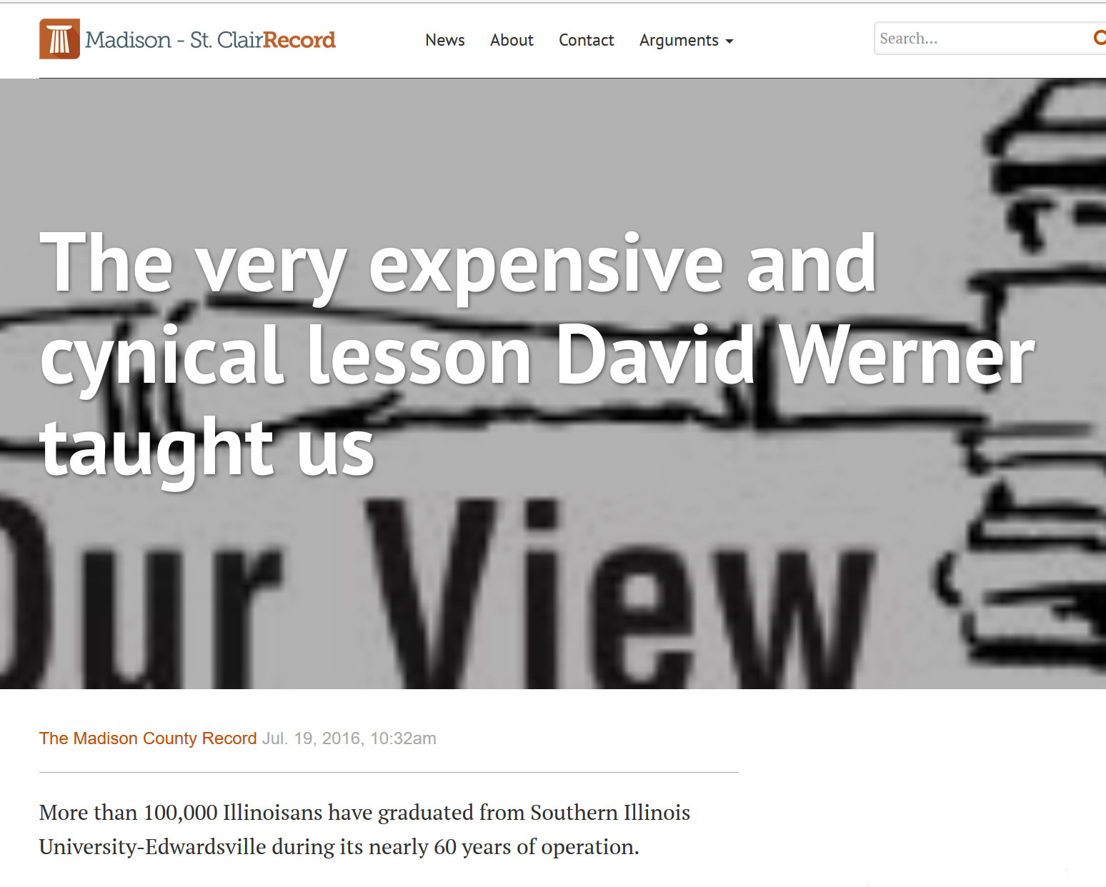 Madison County Record|The very expensive and cynical lesson David Werner taught us