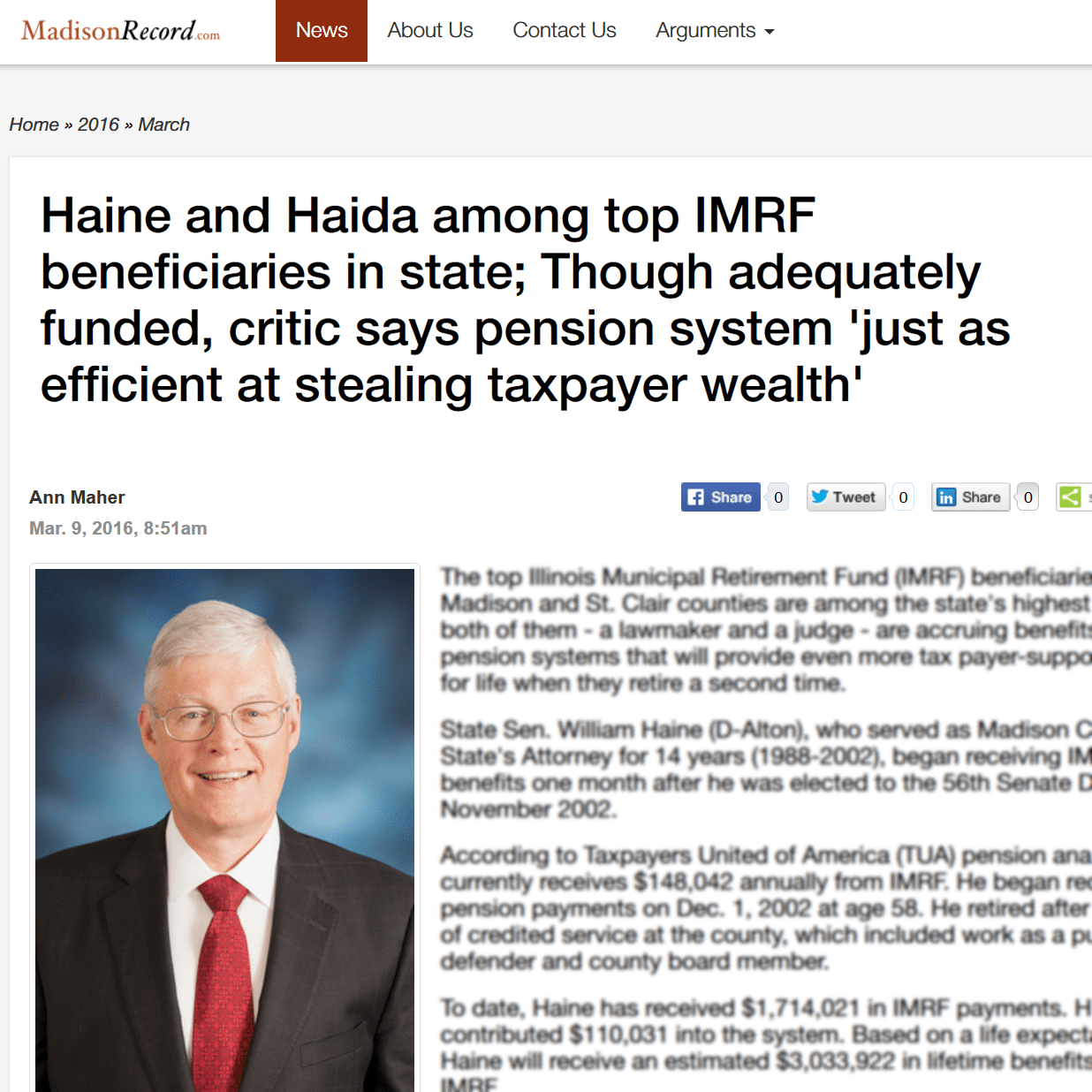 Madison Record|Haine and Haida among top IMRF beneficiaries in state; Though adequately funded, critic says pension system 'just as efficient at stealing taxpayer wealth'