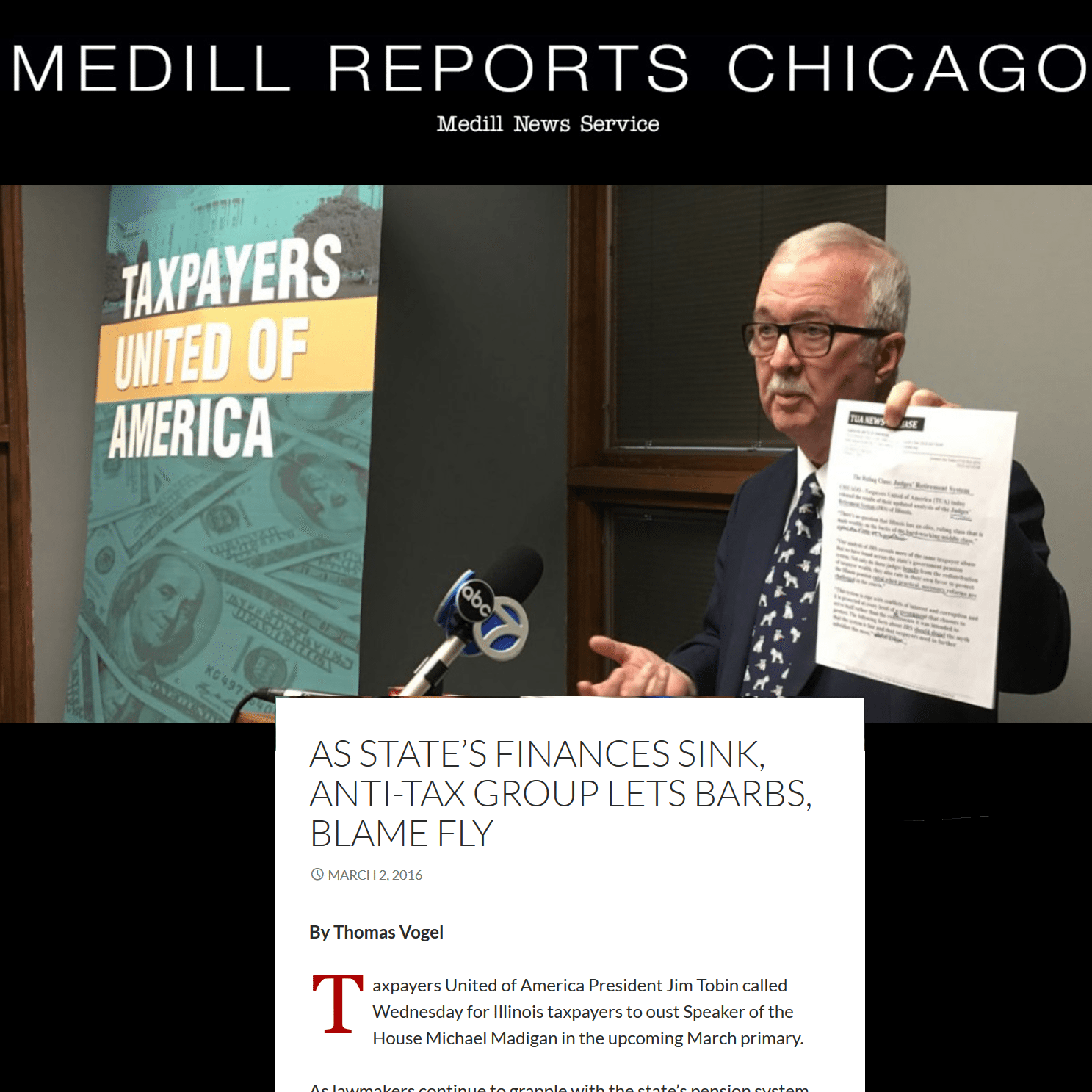 Medill Reports Chicago|As state's finances sink, anti-tax group lets barbs, blame fly