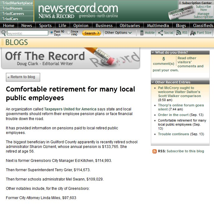 News & Record | Comfortable retirement for many local public employees