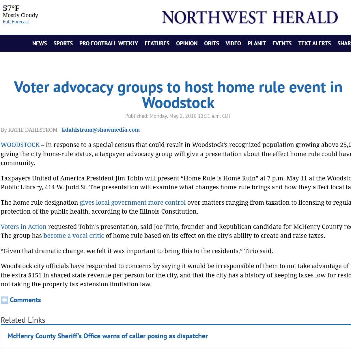 Northwest Herald|Voter advocacy groups to host home rule event in Woodstock