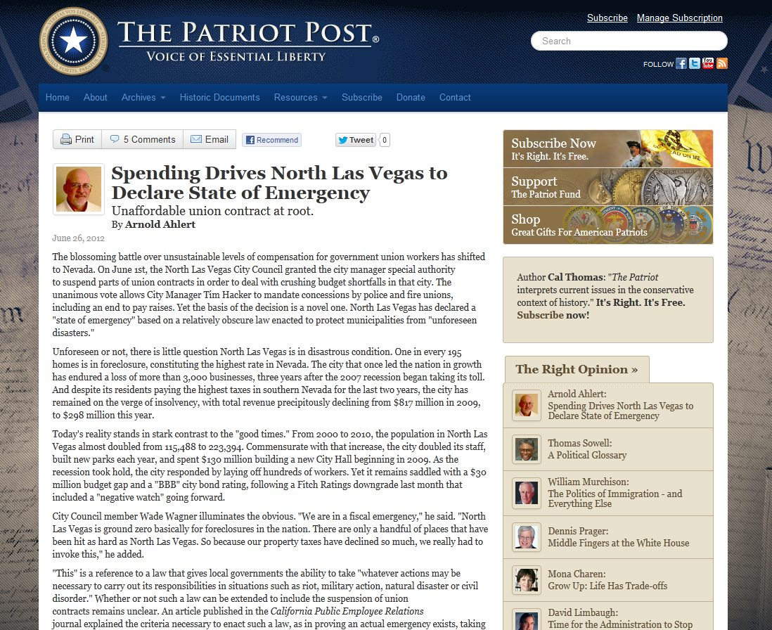 Patriot Post | Spending Drives North Las Vegas to Declare State of Emergency