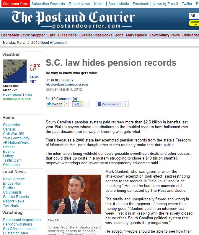 Charleston Post Courier | S.C. law hides pension records