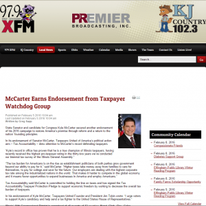 Premier Broadcasting|McCarter Earns Endorsement from Taxpayer Watchdog Group