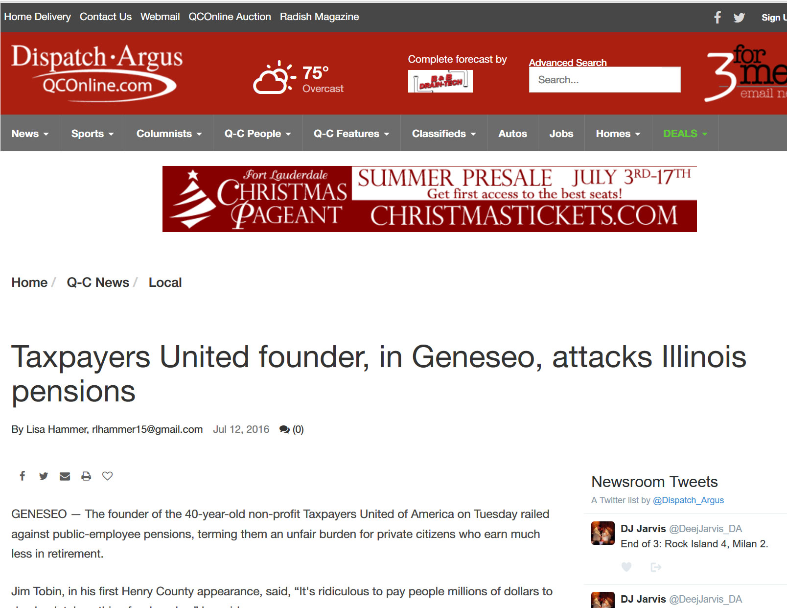 Quad City Online|Taxpayers United founder, in Geneseo, attacks Illinois pensions