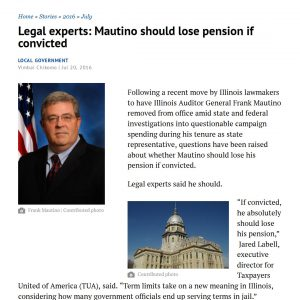 Sangamon Sun|Legal experts: Mautino should lose pension if convicted