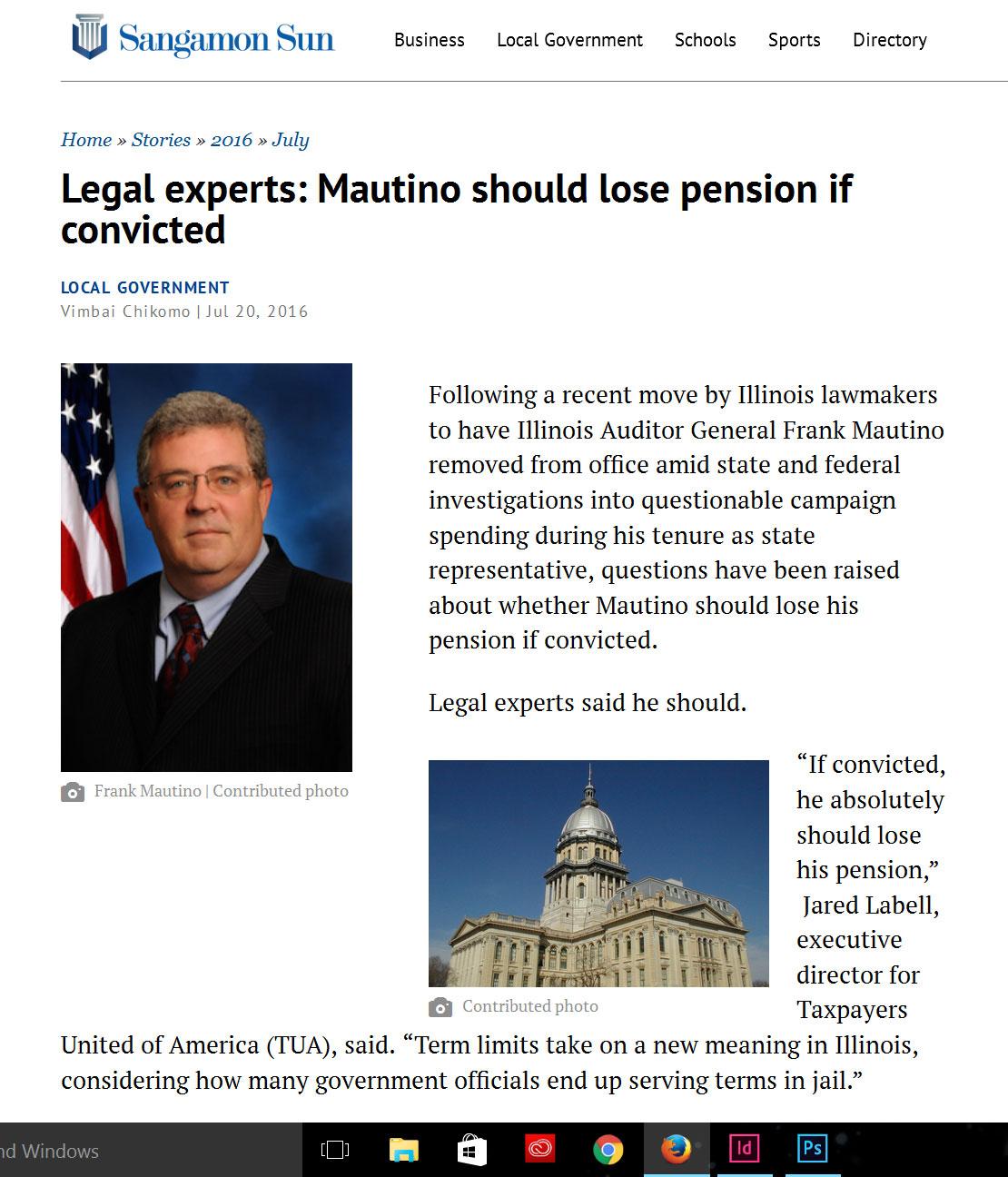 Sangamon Sun Legal experts: Mautino should lose pension if convicted
