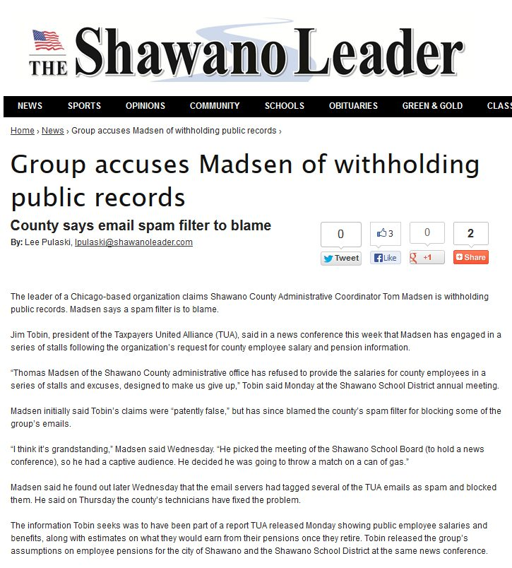 Shawano Leader | Group accuses Madsen of withholding public records