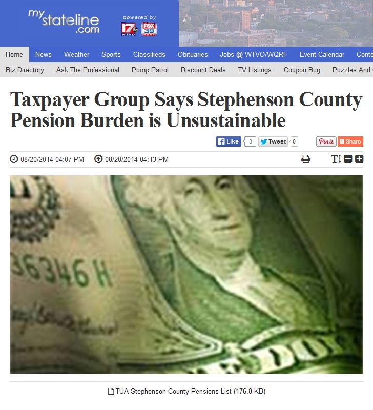 MyStateline.com | Taxpayer Group Says Stephenson County Pension Burden is Unsustainable