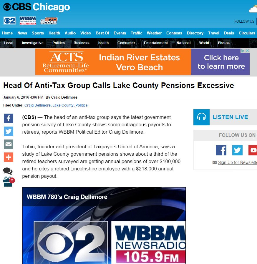 CBS Chicago|Head Of Anti-Tax Group Calls Lake County Pensions Excessive