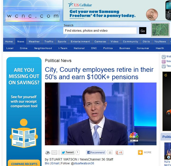 WCNC NewsChannel 36 | City, County employees retire in their 50′s and earn $100K+ pensions