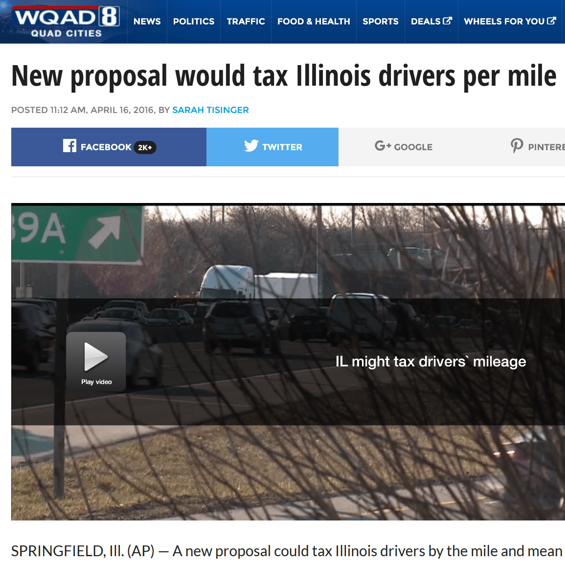 WQAD|New proposal would tax Illinois drivers per mile